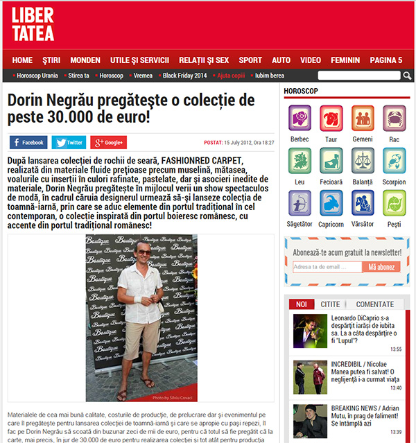 Dorin Negrău pregăteşte o colecţie de peste 30.000 de euro!
