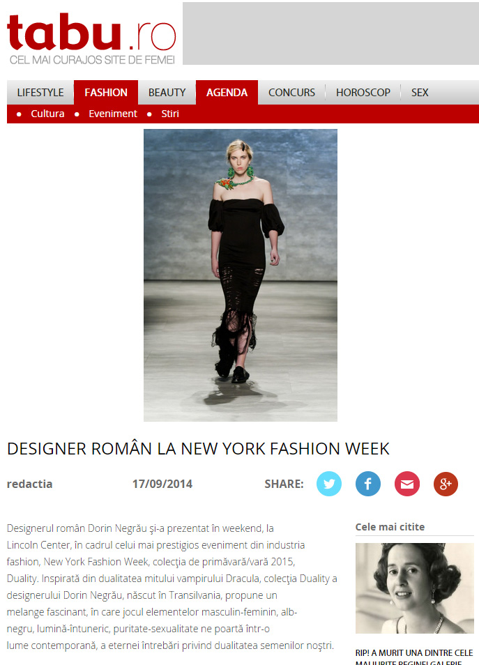 DESIGNER ROMÂN LA NEW YORK FASHION WEEK