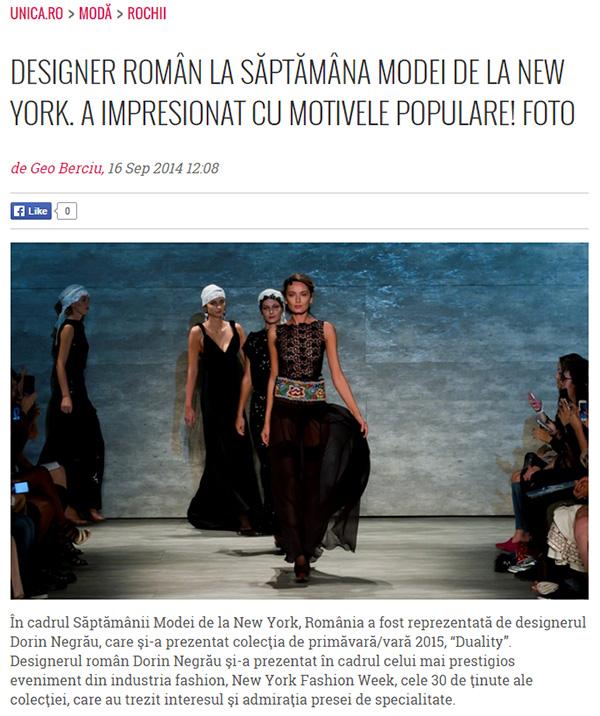 DESIGNER ROMAN LA SAPTAMANA MODEI DE LA NEW YORK. A IMPRESIONAT CU MOTIVELE POPULARE!
