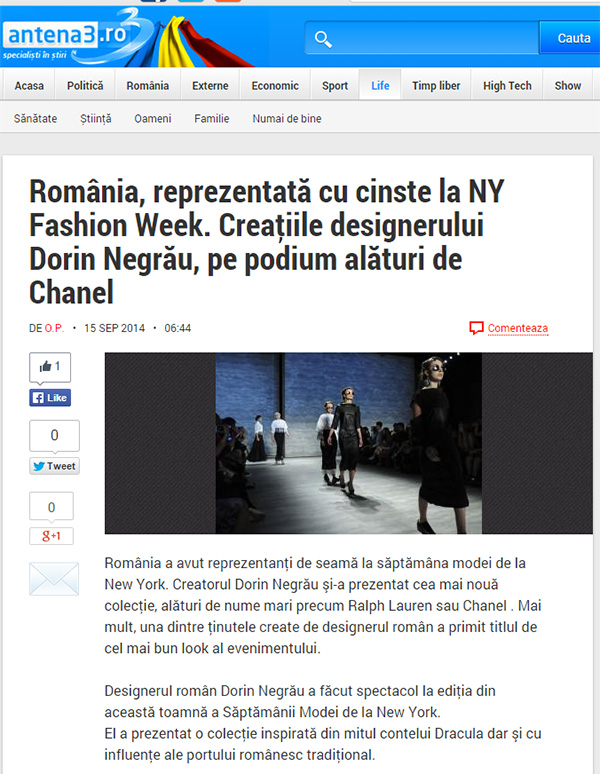 Romania, reprezentata cu cinste la NY Fashion Week