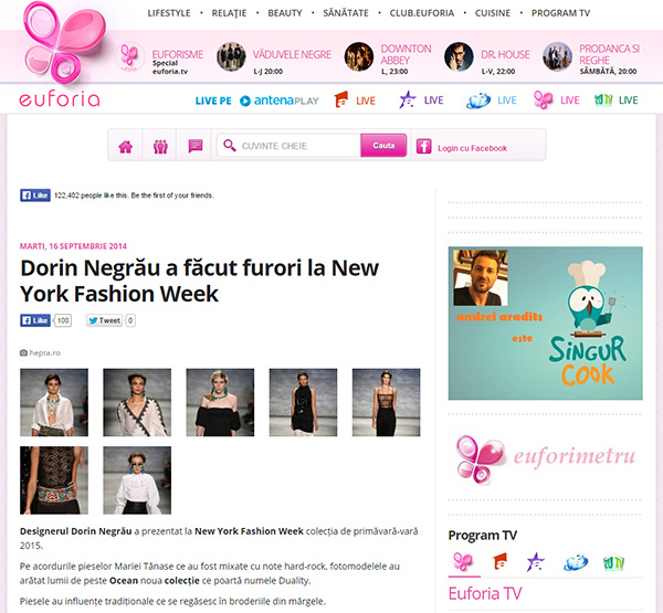 Dorin Negrau a facut furori la New York Fashion Week