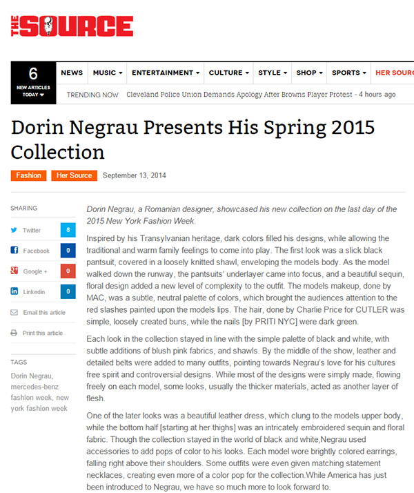 Dorin Negrau Presents His Spring 2015 Collection